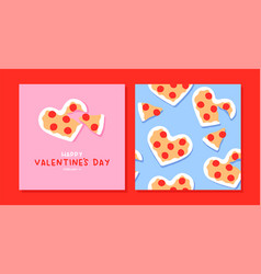 valentines day pink heart pizza pattern card set vector image