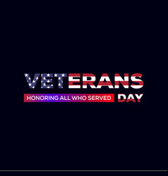 Veterans day designs with american flag vector