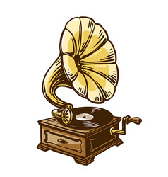 vintage phonograph gramophone sketch vector image vector image