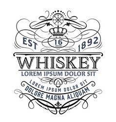 vintage whiskey label for packing vector image