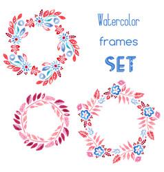 Watercolor floral frames set vector