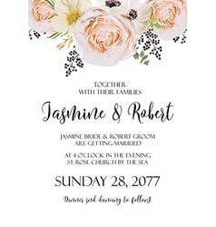 wedding floral invitation invite watercolor card vector image