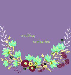wedding invitation with rose flowers and leaves vector image
