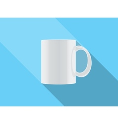 white cup isolated on blue background vector image