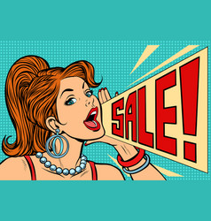 woman announcing sale vector image