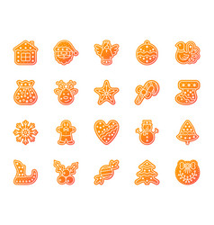 xmas gingerbread simple glyph icons set vector image