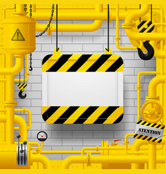 Yellow gas pipes and suspended sign with yellow vector
