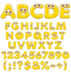Yellow jelly alphabet letters numbers with eyes vector