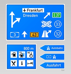 Autobahn signs vector image vector image