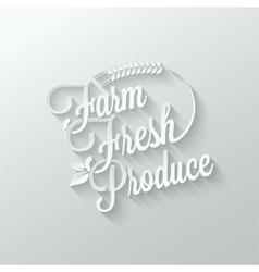 farm fresh cut paper lettering background vector image