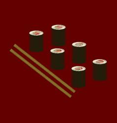flat shading style icon sushi and sticks vector image