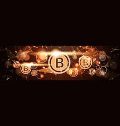golden bitcoin horizontal banner digital currency vector image
