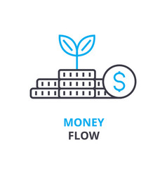 money flow concept outline icon linear sign vector image