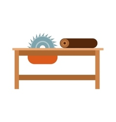 Power-saw bench icon industry tool equipment work vector image