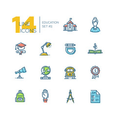 school and education - thick line icons set vector image
