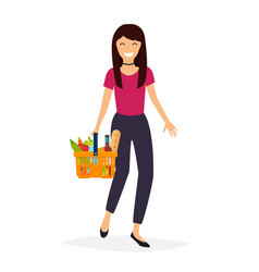 woman holds with basket foods flat design modern vector image vector image