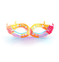 carnival mask with feathers with colorful vector image vector image