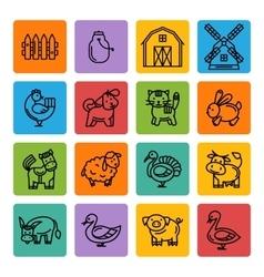 Farm animals black icon set vector image