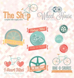 Retro Bike Shop Labels and Icons vector image vector image