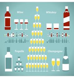 Set of alcohol bottles vector image