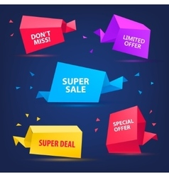 set of colorful sale banners bubbles 3d vector image vector image