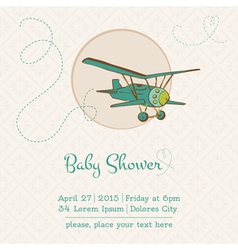 Baby Shower or Arrival Card with Plane vector image vector image