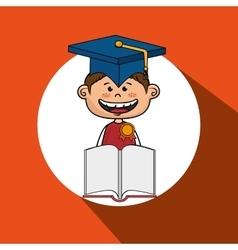 boy student book cap vector image vector image
