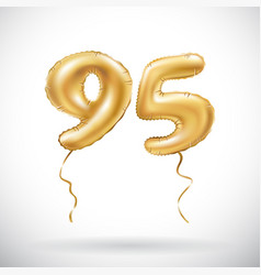 golden number 95 ninety five metallic balloon vector image vector image