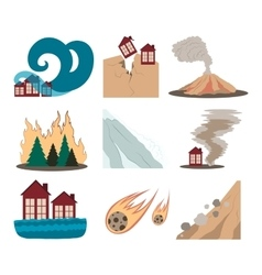 Natural disaster icon set vector