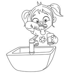 outlined girl brushing teeth vector image