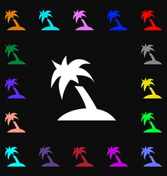 Palm tree travel trip icon sign lots of colorful vector