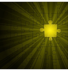 Yellow puzzle shine vector image vector image