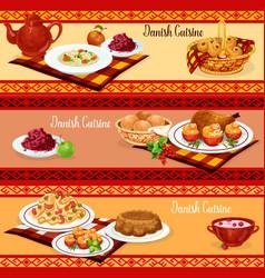 Danish cuisine dinner banner of scandinavian food vector