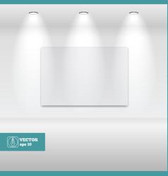 Empty white frame in art gallery vector