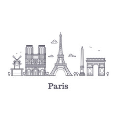 french architecture paris panorama city skyline vector image