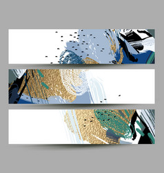 set of artistic creative three cards with hand vector image