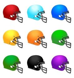 Set of colour footbal helmets vector image vector image