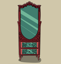 the red cabinet with pink details and with a vector image