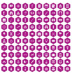 100 binoculars icons hexagon violet vector