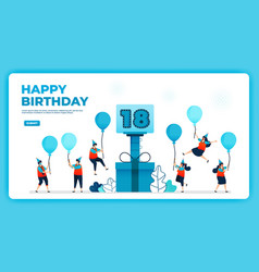 18th birthday with health protocol happy vector