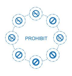 8 prohibit icons vector