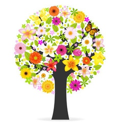 abstract flowers tree vector image