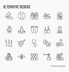 Alternative medicine thin line icon set vector