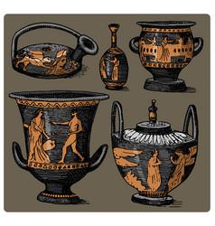 ancient greece antique amphora set vase vector image