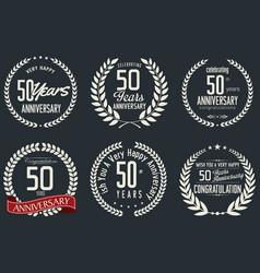 anniversary retro labels 50 years vector image