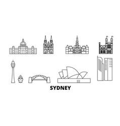 Australia sydney line travel skyline set vector