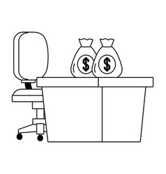 Bank work desk chair and money bags black and vector