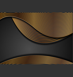 black corporate wavy background with golden lines vector image