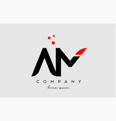 Black red am a m alphabet letter logo icon vector
