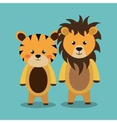 Cartoon animal lion tiger plush stuffed design vector